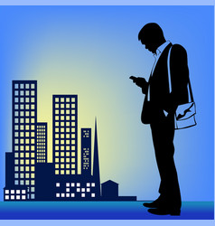 silhouette of a man in a business suit with a vector image vector image