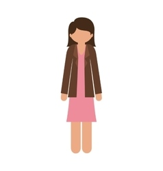 Silhouette woman in dress and jacket without face vector