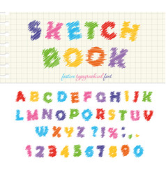 sketchbook colorful font design abc scribble vector image vector image