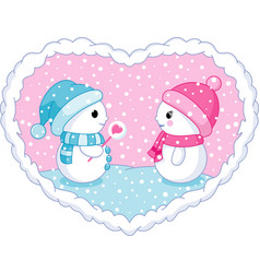 snowman in love vector image vector image