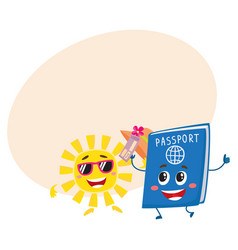 sun and passport characters holiday summer vector image