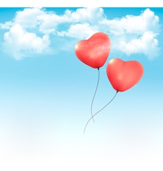 Valentine heart-shaped baloons in a blue sky with vector image vector image