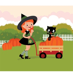 Witch with a wheelbarrow with pumpkins vector image vector image