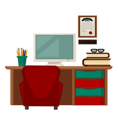 workplace with books and computer vector image vector image