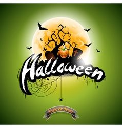 Halloween with pumpkin on green background vector image