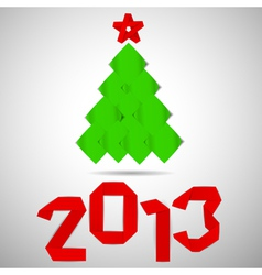 Green tree with red stripe 2013 numerals christmas vector