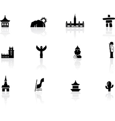 Landmarks and cultures icons vector image