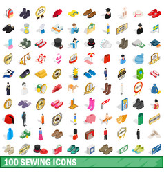 100 sewing icons set isometric 3d style vector