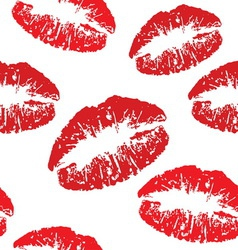 Red kiss print pattern vector