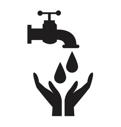 Black silhouette house faucet with drop and hands vector