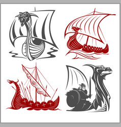 vikings ships - set on white background vector image