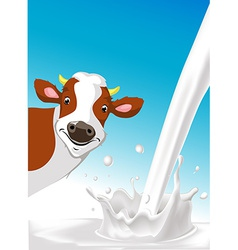 Design with cow and pouring milk splash vector