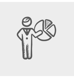 Businessman pointing at pie chart sketch icon vector