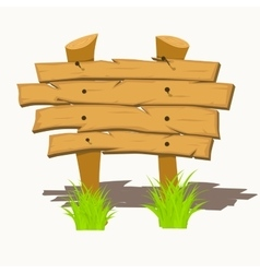 Wooden sign boards on a grass vector