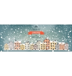 Winter urban landscape city vector
