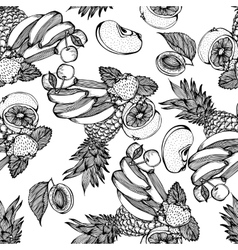 Seamless monochrome pattern with fruit mix vector