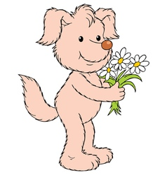 dog with flowers vector image