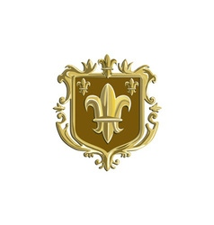 Fleur de lis coat of arms gold crest retro vector