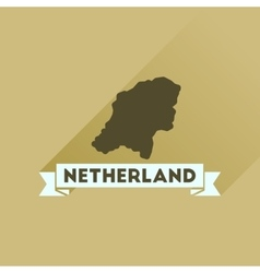 Flat icon with long shadow netherlands map vector