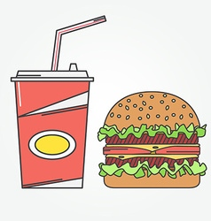 Fast food icon icon cola and burger for web vector
