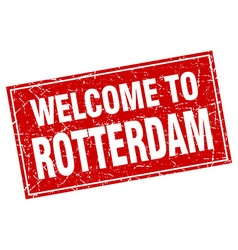 Rotterdam red square grunge welcome to stamp vector