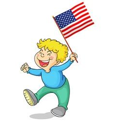 Happy boy holding american flag vector