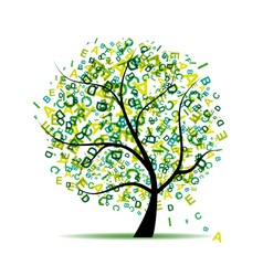 Art tree with letters green for your design vector image vector image