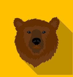 Brown bear muzzle icon in flat style isolated on vector