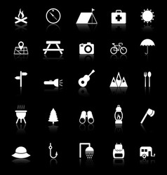 Camping icons with reflect on black background vector image vector image
