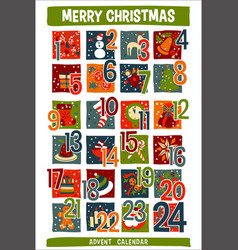 Cartoon christmas advent calendar with funny icons vector