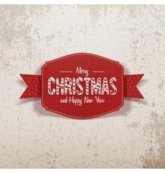 Christmas realistic greeting red Card and Ribbon vector image vector image