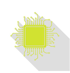 Cpu microprocessor pear icon with vector