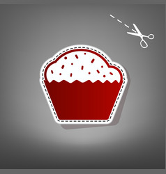 Cupcake sign red icon with for applique vector