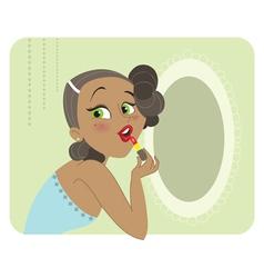 Cute dark skinned brunette woman applying lipstick vector image
