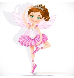 Cute little fairy girl in pink tutu and tiara vector