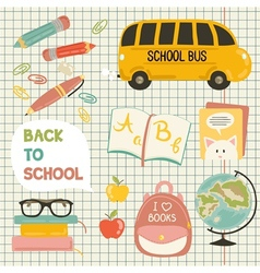 Cute school cartoon colection vector
