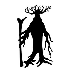 Ent tree silhouette ancient legend fantasy vector