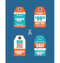 flat design sale tags set vector image