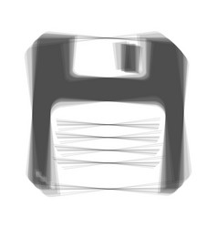 Floppy disk sign gray icon shaked at vector