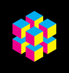 geometric cube of 8 smaller isometric cubes in vector image vector image