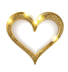 Gold frame heart on a white background vector