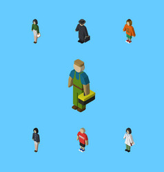 Isometric person set of girl doctor pedagogue vector
