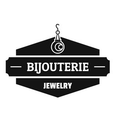 Jewelry shop logo simple black style vector
