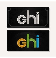 letter G H I logo alphabet chalk icon set vector image