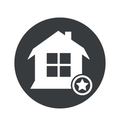 Monochrome round favorite house icon vector