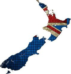 New zealand map with flag inside vector
