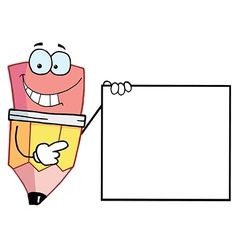 Pencil Presenting A Blank Sign vector image