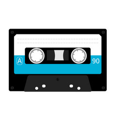 Plastic audio tape cassette retro music icon vector