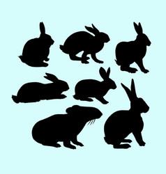 Rabbit pet animal action silhouette vector