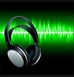 Realistic headphones digital equalizer sound wave vector